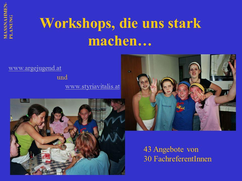 Workshops, die uns stark machen… www.argejugend.at und www.styriavitalis.at 43 Angebote von 30 FachreferentInnen MASSNAHMEN-PLANUNG