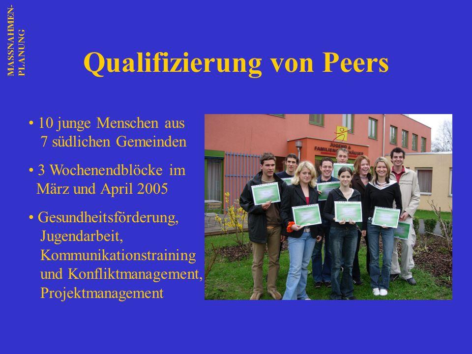 Qualifizierung von Peers 10 junge Menschen aus 7 südlichen Gemeinden 3 Wochenendblöcke im März und April 2005 Gesundheitsförderung, Jugendarbeit, Komm