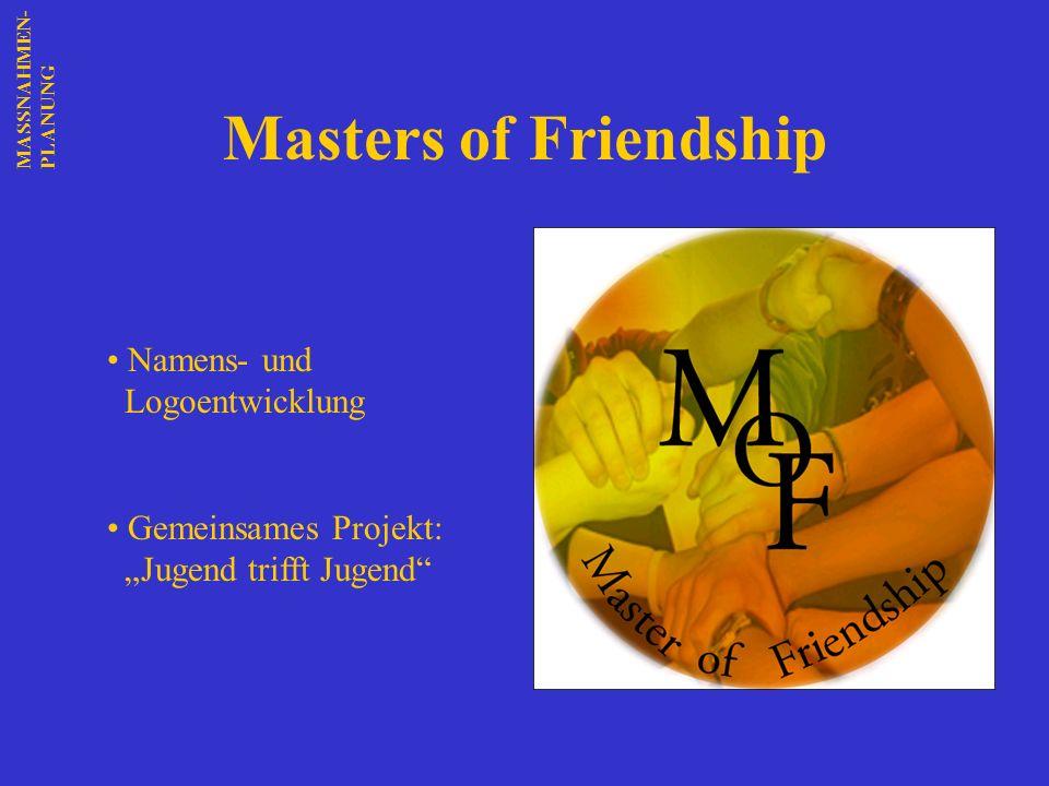 Masters of Friendship Namens- und Logoentwicklung Gemeinsames Projekt: Jugend trifft Jugend MASSNAHMEN-PLANUNG
