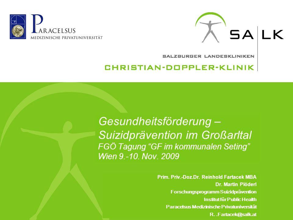 Gesundheitsförderung – Suizidprävention im Großarltal FGÖ Tagung GF im kommunalen Seting Wien 9.-10.