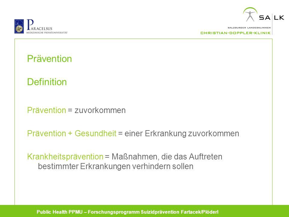 Public Health PPMU – Forschungsprogramm Suizidprävention Fartacek/Plöderl Prävention Definition Prävention = zuvorkommen Prävention + Gesundheit = einer Erkrankung zuvorkommen Krankheitsprävention = Maßnahmen, die das Auftreten bestimmter Erkrankungen verhindern sollen