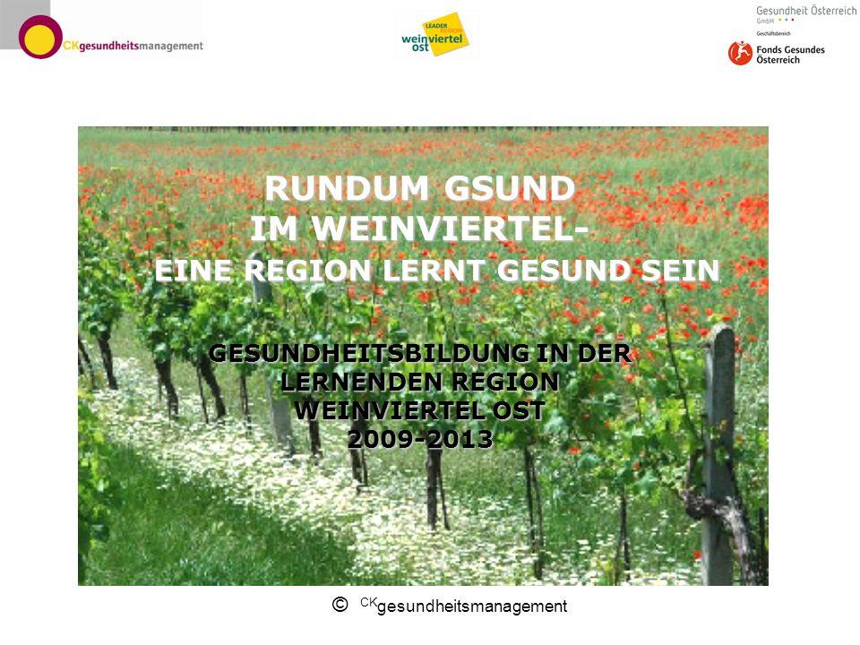 © CK gesundheitsmanagement RUNDUMGSUND IM WEINVIERTEL- EINE REGION LERNT GESUND SEIN GESUNDHEITSBILDUNG IN DER LERNENDEN REGION WEINVIERTEL OST 2009-2013 RUNDUM GSUND IM WEINVIERTEL- EINE REGION LERNT GESUND SEIN GESUNDHEITSBILDUNG IN DER LERNENDEN REGION WEINVIERTEL OST 2009-2013