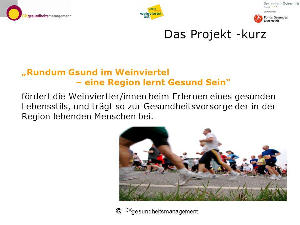 © CK gesundheitsmanagement Das Projekt -kurz Rundum Gsund im Weinviertel – eine Region lernt Gesund Sein fördert die Weinviertler/innen beim Erlernen