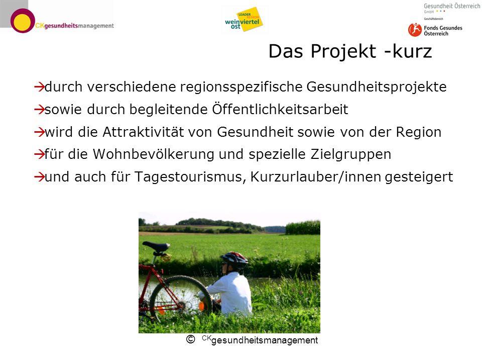 © CK gesundheitsmanagement Das Projekt -kurz durch verschiedene regionsspezifische Gesundheitsprojekte sowie durch begleitende Öffentlichkeitsarbeit w