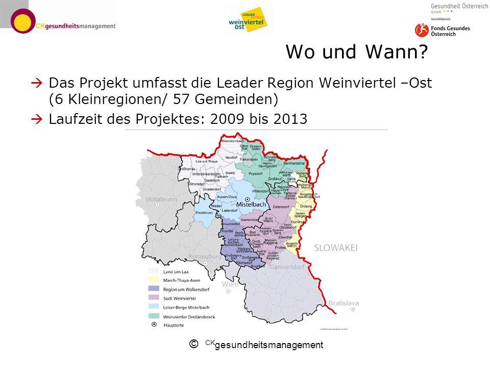 © CK gesundheitsmanagement Wo und Wann? Das Projekt umfasst die Leader Region Weinviertel –Ost (6 Kleinregionen/ 57 Gemeinden) Laufzeit des Projektes: