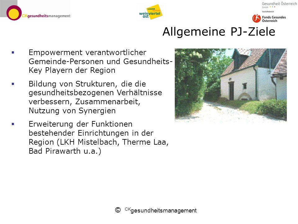 © CK gesundheitsmanagement Allgemeine PJ-Ziele Empowerment verantwortlicher Gemeinde-Personen und Gesundheits- Key Playern der Region Bildung von Stru