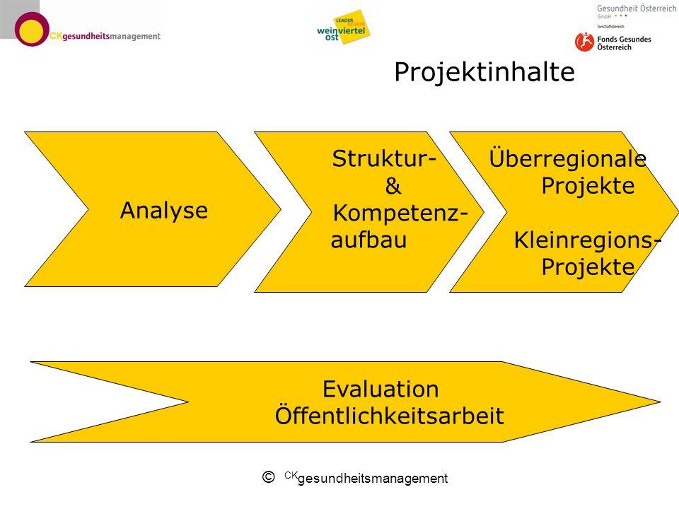 © CK gesundheitsmanagement Projektinhalte Analyse Überregionale Projekte Kleinregions- Projekte Evaluation Öffentlichkeitsarbeit Struktur- & Kompetenz- aufbau