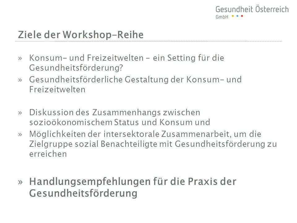 Ziele der Workshop-Reihe »Konsum- und Freizeitwelten - ein Setting für die Gesundheitsförderung.