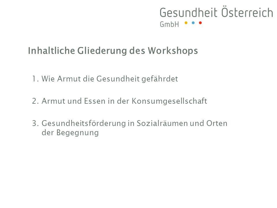 Inhaltliche Gliederung des Workshops 1. Wie Armut die Gesundheit gefährdet 2.