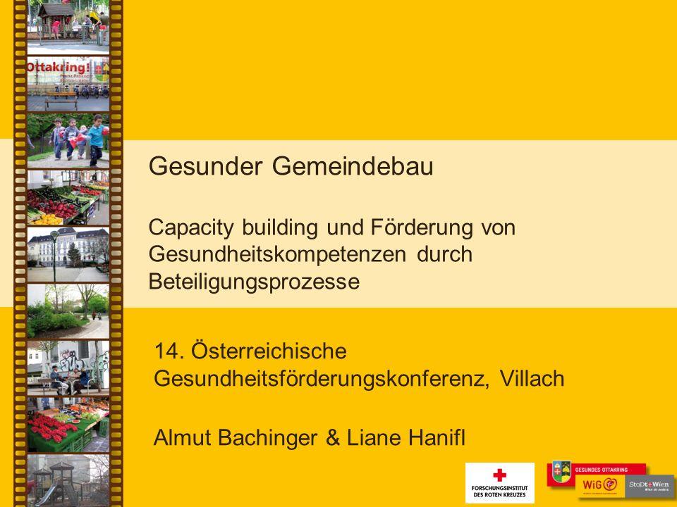 Gesunder Gemeindebau Capacity building und Förderung von Gesundheitskompetenzen durch Beteiligungsprozesse 14.