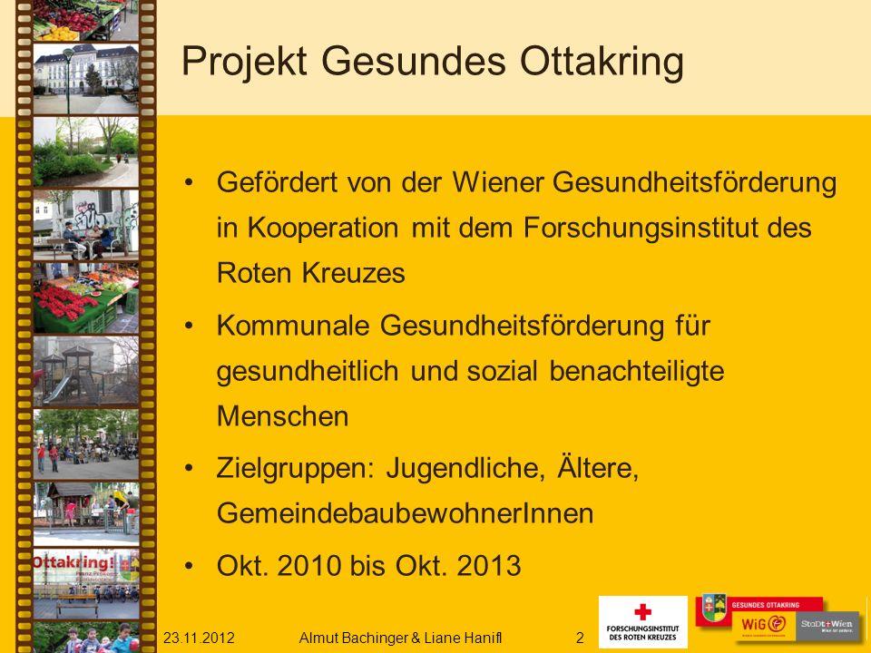 23.11.2012Almut Bachinger & Liane Hanifl2 Projekt Gesundes Ottakring Gefördert von der Wiener Gesundheitsförderung in Kooperation mit dem Forschungsin