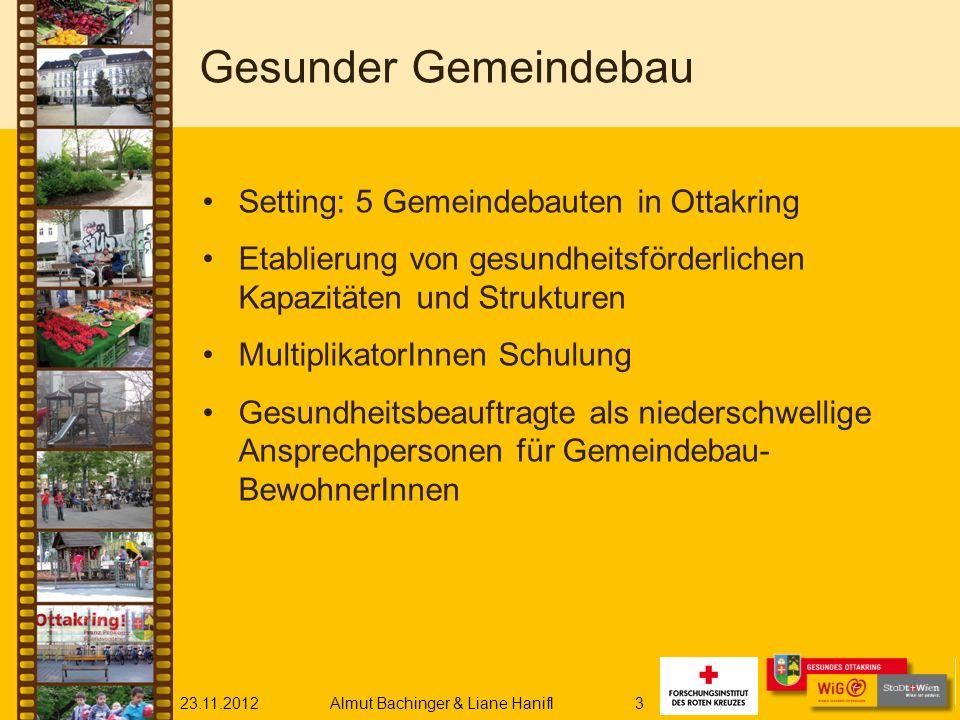 23.11.2012Almut Bachinger & Liane Hanifl3 Gesunder Gemeindebau Setting: 5 Gemeindebauten in Ottakring Etablierung von gesundheitsförderlichen Kapazitä