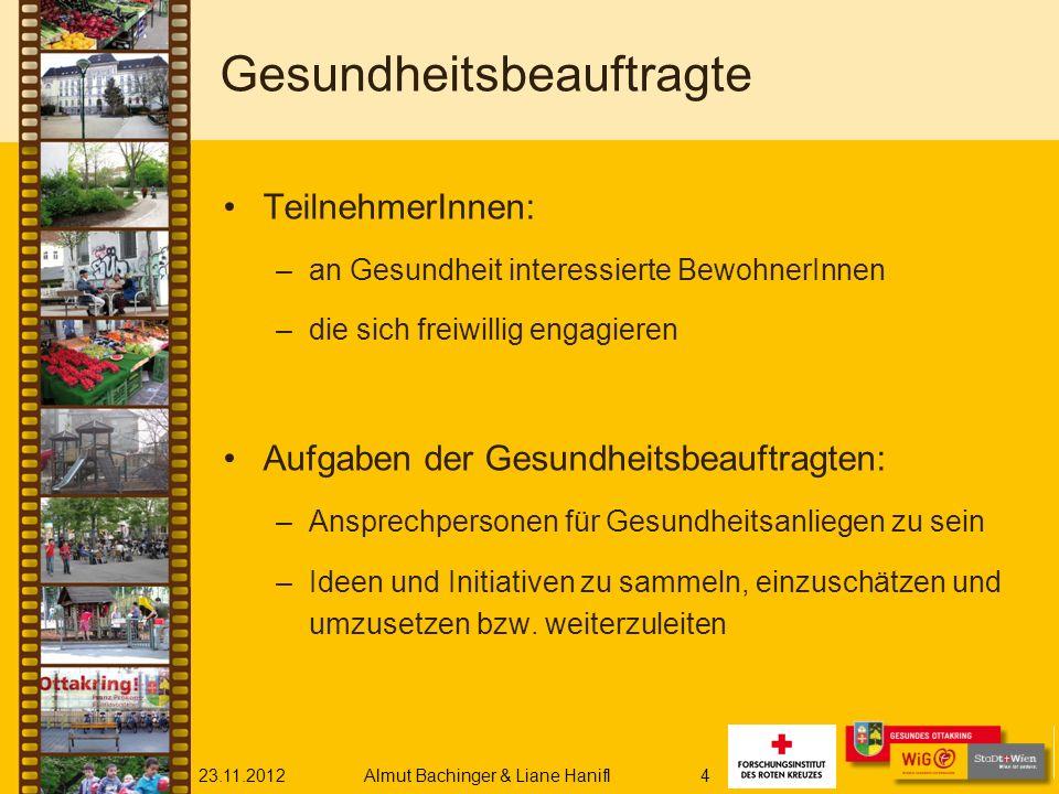 23.11.2012Almut Bachinger & Liane Hanifl4 Gesundheitsbeauftragte TeilnehmerInnen: –an Gesundheit interessierte BewohnerInnen –die sich freiwillig enga