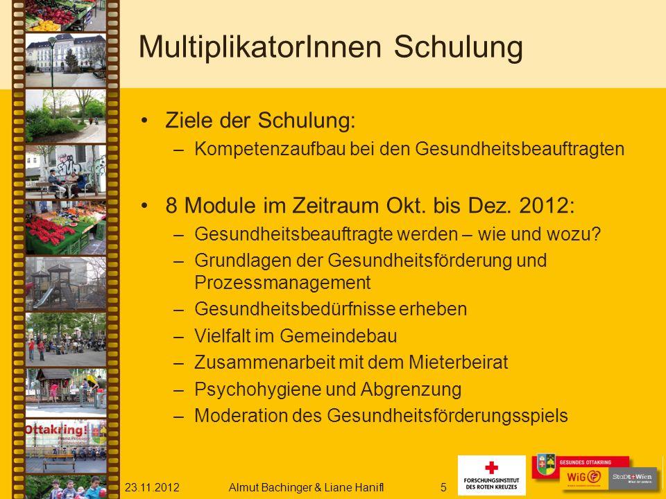 23.11.2012Almut Bachinger & Liane Hanifl5 MultiplikatorInnen Schulung Ziele der Schulung: –Kompetenzaufbau bei den Gesundheitsbeauftragten 8 Module im Zeitraum Okt.