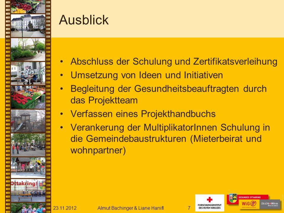 23.11.2012Almut Bachinger & Liane Hanifl7 Ausblick Abschluss der Schulung und Zertifikatsverleihung Umsetzung von Ideen und Initiativen Begleitung der