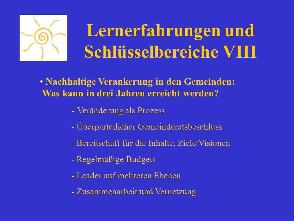 Nachhaltige Verankerung in den Gemeinden: Was kann in drei Jahren erreicht werden? - Veränderung als Prozess - Überparteilicher Gemeinderatsbeschluss