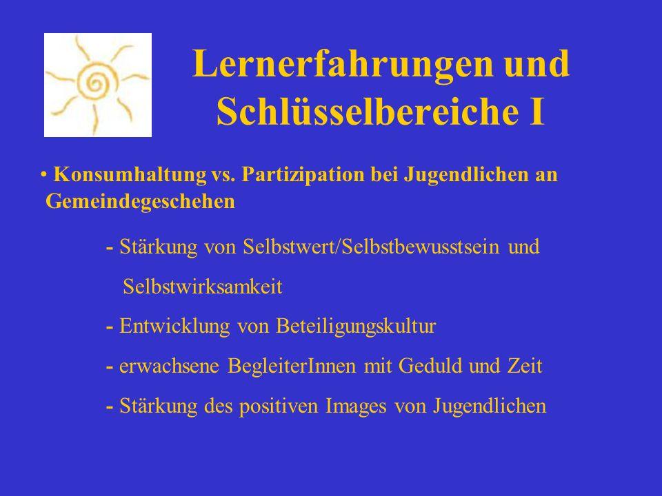 Lernerfahrungen und Schlüsselbereiche I Konsumhaltung vs. Partizipation bei Jugendlichen an Gemeindegeschehen - Stärkung von Selbstwert/Selbstbewussts
