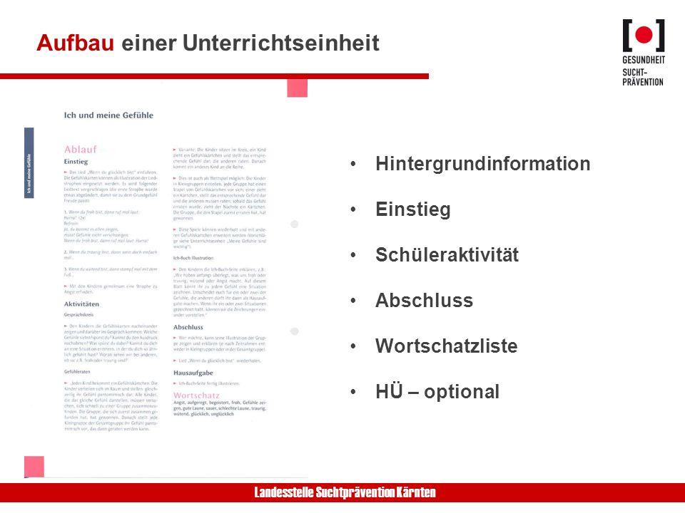 Landesstelle Suchtprävention Kärnten Aufbau einer Unterrichtseinheit Hintergrundinformation Einstieg Schüleraktivität Abschluss Wortschatzliste HÜ – o