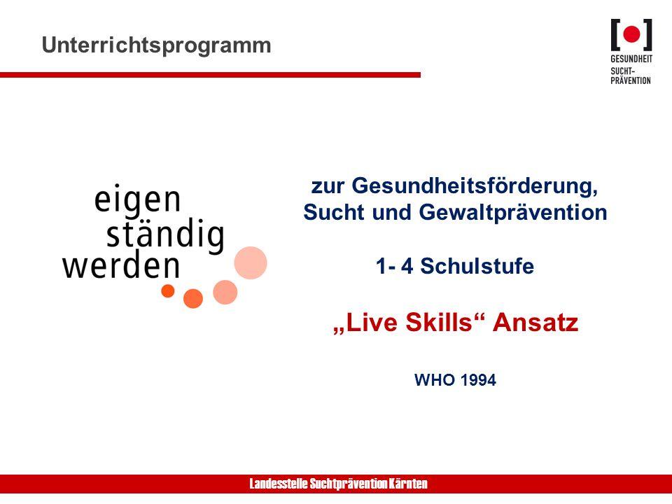 Landesstelle Suchtprävention Kärnten zur Gesundheitsförderung, Sucht und Gewaltprävention 1- 4 Schulstufe Live Skills Ansatz WHO 1994 Unterrichtsprogramm