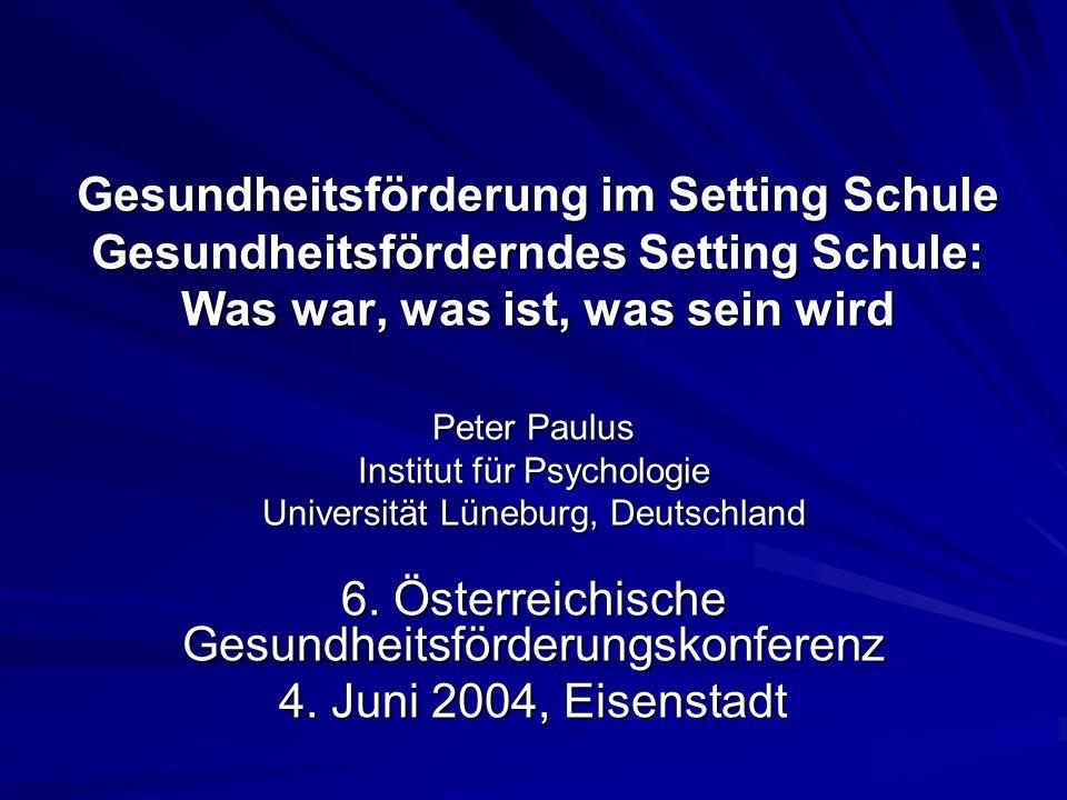 Gesundheitsförderung im Setting Schule Gesundheitsförderndes Setting Schule: Was war, was ist, was sein wird Peter Paulus Institut für Psychologie Uni