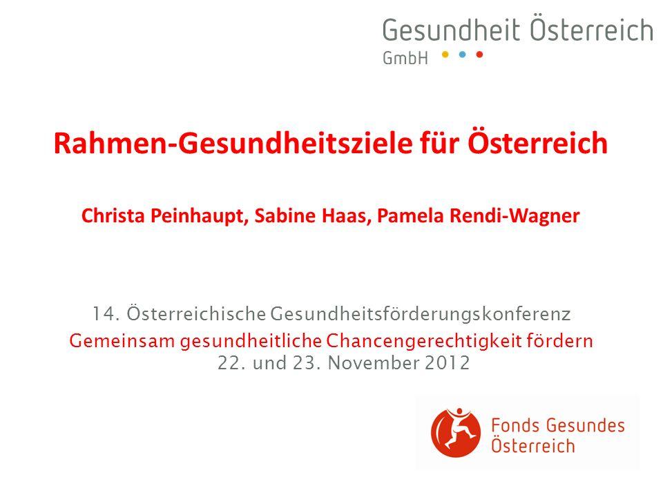 14. Österreichische Gesundheitsförderungskonferenz Gemeinsam gesundheitliche Chancengerechtigkeit fördern 22. und 23. November 2012 Rahmen-Gesundheits
