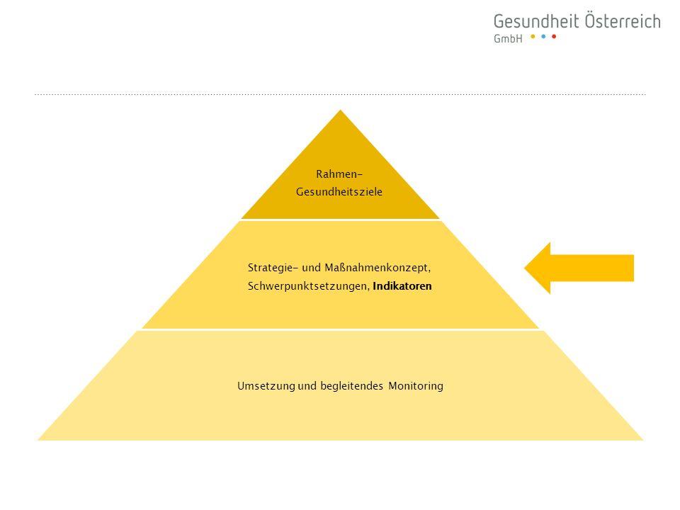 Rahmen- Gesundheitsziele Strategie- und Maßnahmenkonzept, Schwerpunktsetzungen, Indikatoren Umsetzung und begleitendes Monitoring