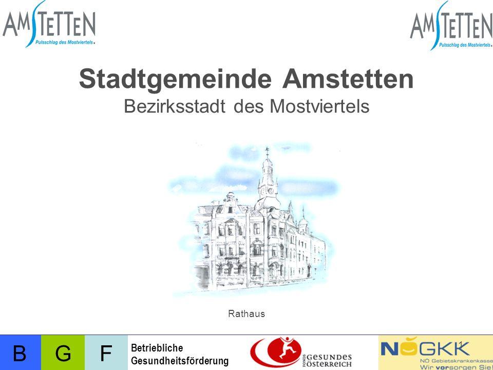 BFG Betriebliche Gesundheitsförderung 2 Stadtgemeinde Amstetten Amstetten: Bezirksstadt des Mostviertels und Schulstadt Ca.