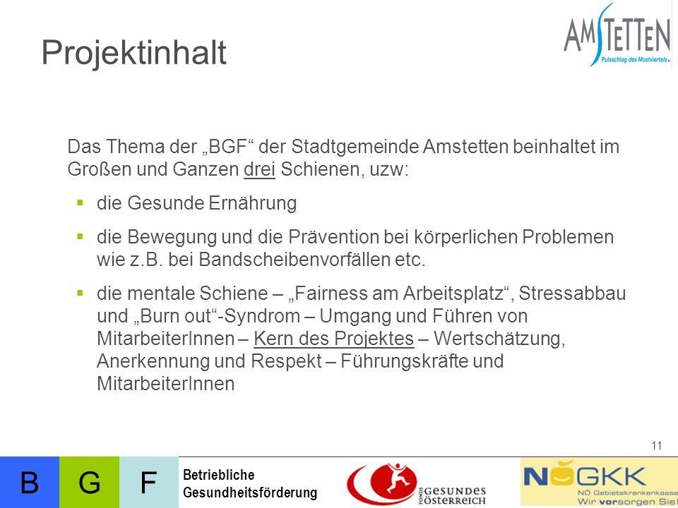 BFG Betriebliche Gesundheitsförderung 11 Projektinhalt Das Thema der BGF der Stadtgemeinde Amstetten beinhaltet im Großen und Ganzen drei Schienen, uzw: die Gesunde Ernährung die Bewegung und die Prävention bei körperlichen Problemen wie z.B.