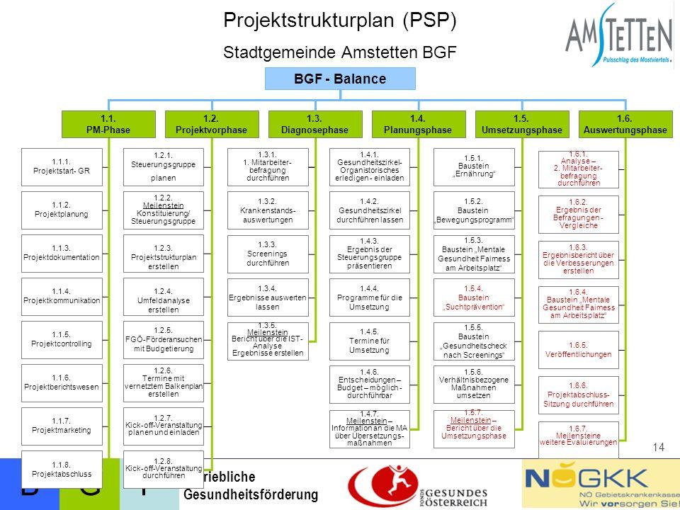 BFG Betriebliche Gesundheitsförderung 14 1.1.PM-Phase 1.2.