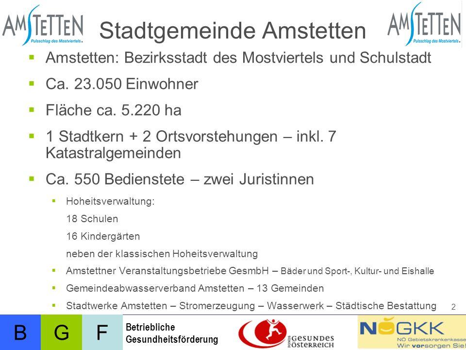 BFG Betriebliche Gesundheitsförderung 3 Stadtgemeinde Amstetten Abteilung VIII: Personalangelegenheiten und Organisation Dienst- u.
