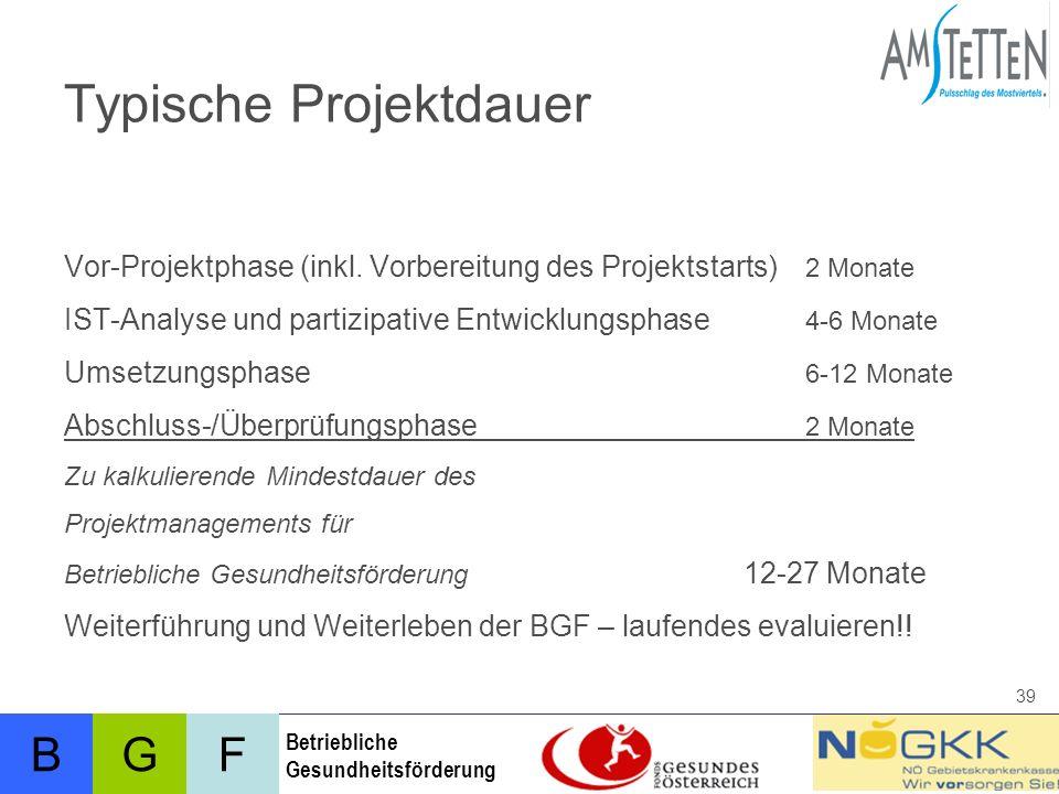 BFG Betriebliche Gesundheitsförderung 39 Typische Projektdauer Vor-Projektphase (inkl.