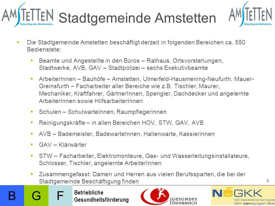 BFG Betriebliche Gesundheitsförderung 4 Stadtgemeinde Amstetten Die Stadtgemeinde Amstetten beschäftigt derzeit in folgenden Bereichen ca.