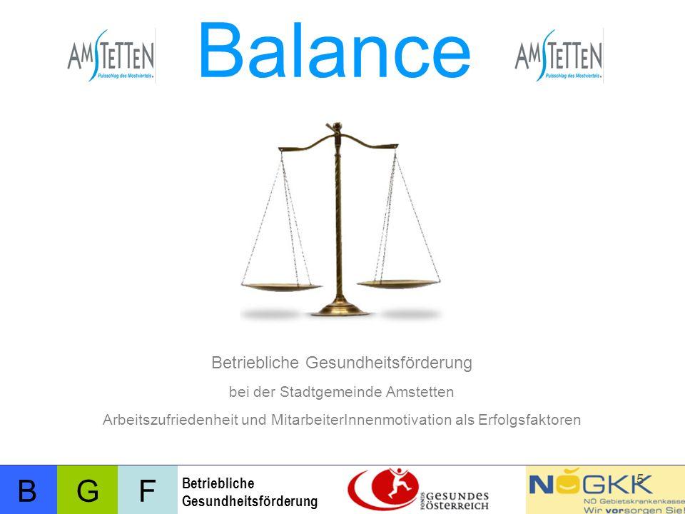 BFG Betriebliche Gesundheitsförderung 5 bei der Stadtgemeinde Amstetten Arbeitszufriedenheit und MitarbeiterInnenmotivation als Erfolgsfaktoren Balance