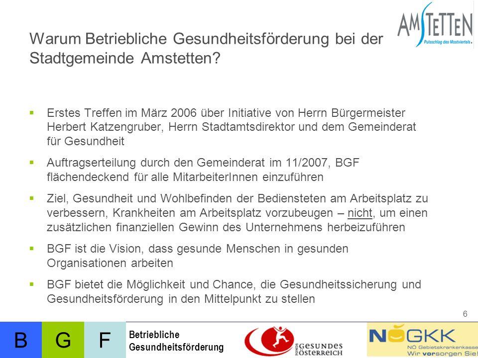 BFG Betriebliche Gesundheitsförderung 6 Warum Betriebliche Gesundheitsförderung bei der Stadtgemeinde Amstetten.