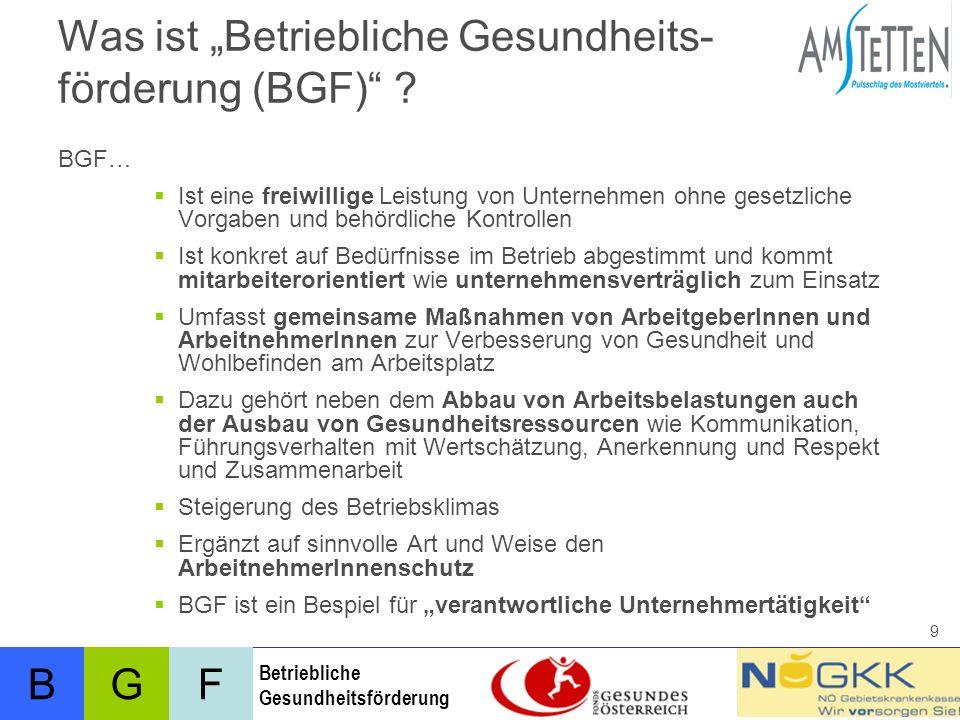 BFG Betriebliche Gesundheitsförderung 9 Was ist Betriebliche Gesundheits- förderung (BGF) .