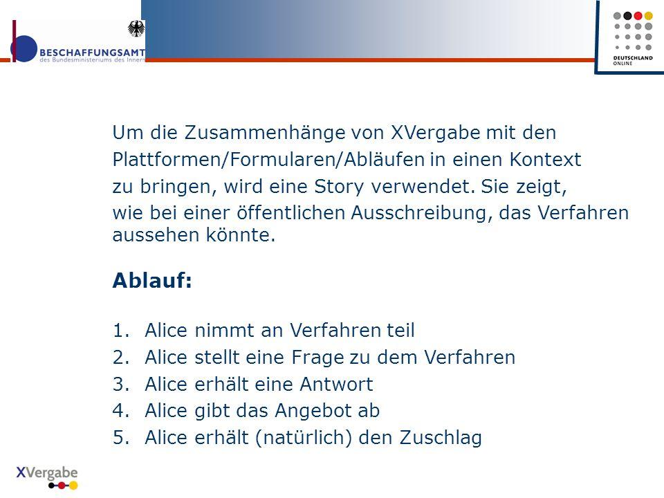 Um die Zusammenhänge von XVergabe mit den Plattformen/Formularen/Abläufen in einen Kontext zu bringen, wird eine Story verwendet.
