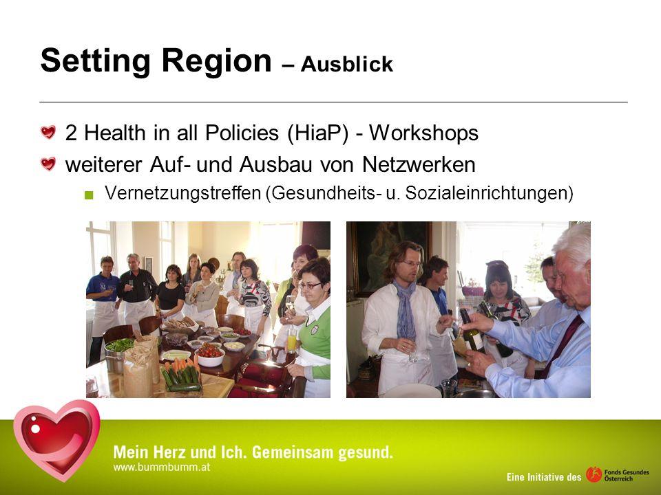 Setting Region – Ausblick 2 Health in all Policies (HiaP) - Workshops weiterer Auf- und Ausbau von Netzwerken Vernetzungstreffen (Gesundheits- u. Sozi