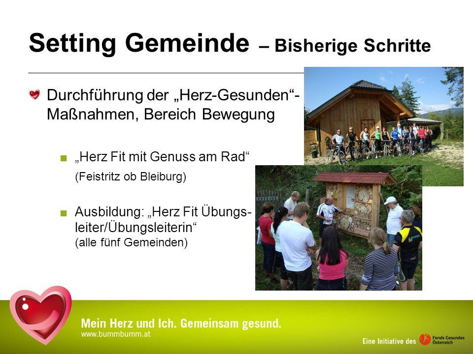 Setting Gemeinde – Bisherige Schritte Durchführung der Herz-Gesunden- Maßnahmen, Bereich Bewegung Herz Fit mit Genuss am Rad (Feistritz ob Bleiburg) A