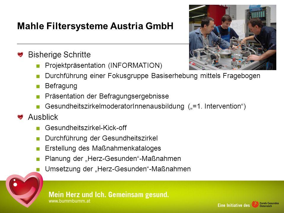 Mahle Filtersysteme Austria GmbH Bisherige Schritte Projektpräsentation (INFORMATION) Durchführung einer Fokusgruppe Basiserhebung mittels Fragebogen