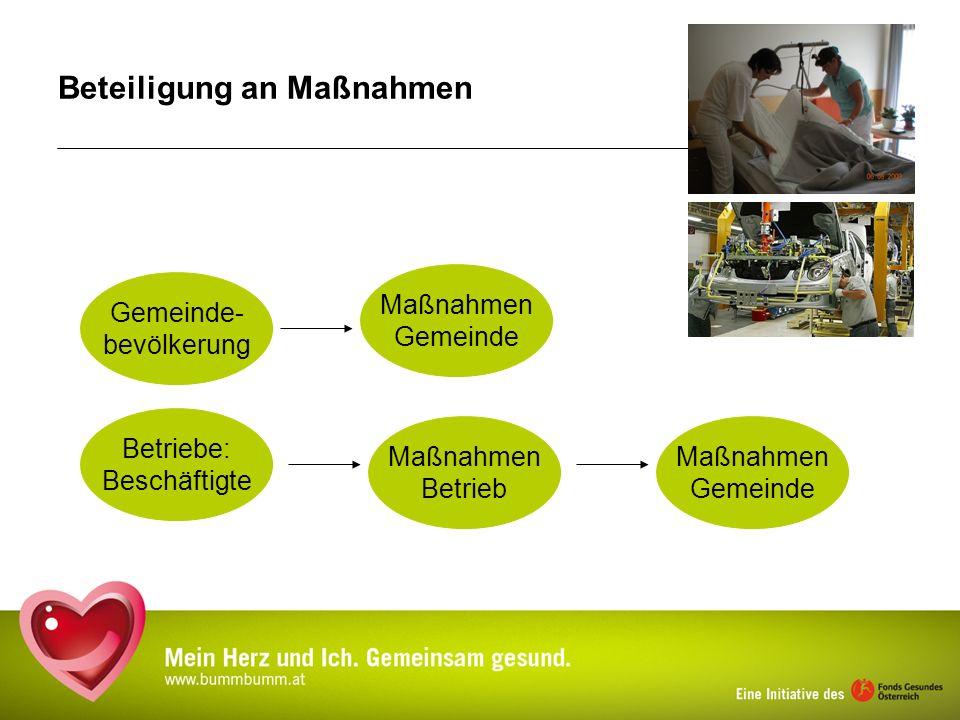 Beteiligung an Maßnahmen Betriebe: Beschäftigte Gemeinde- bevölkerung Maßnahmen Gemeinde Maßnahmen Betrieb Maßnahmen Gemeinde