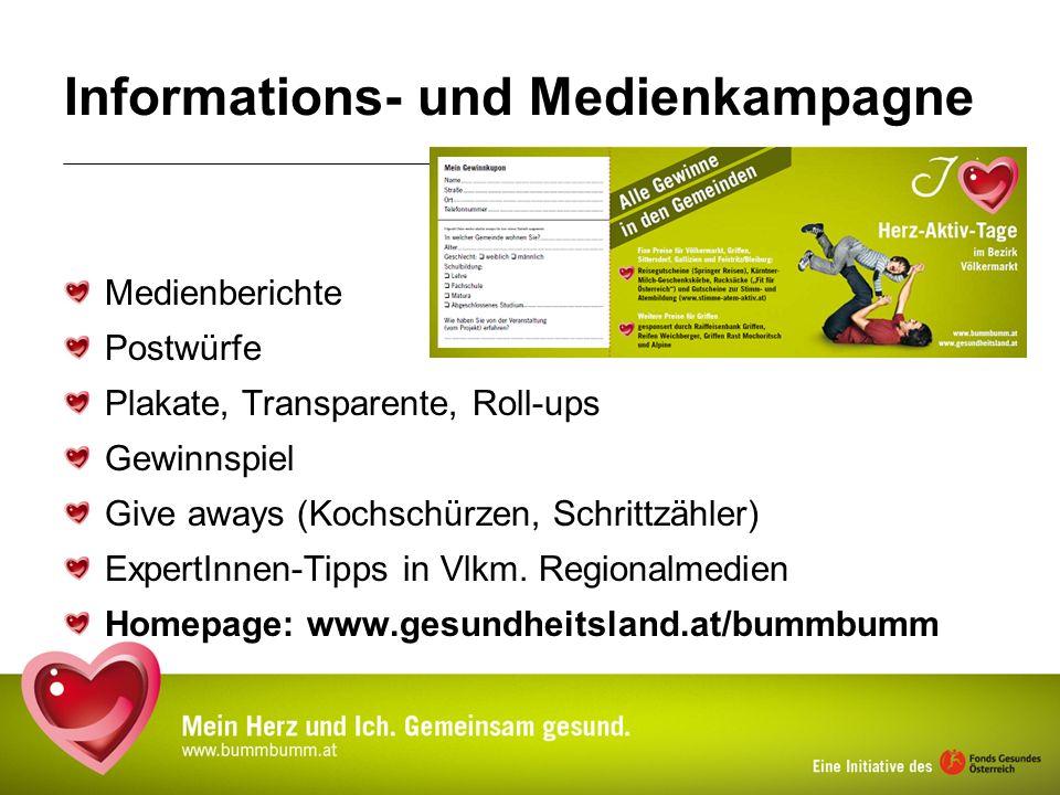 Informations- und Medienkampagne Medienberichte Postwürfe Plakate, Transparente, Roll-ups Gewinnspiel Give aways (Kochschürzen, Schrittzähler) ExpertI