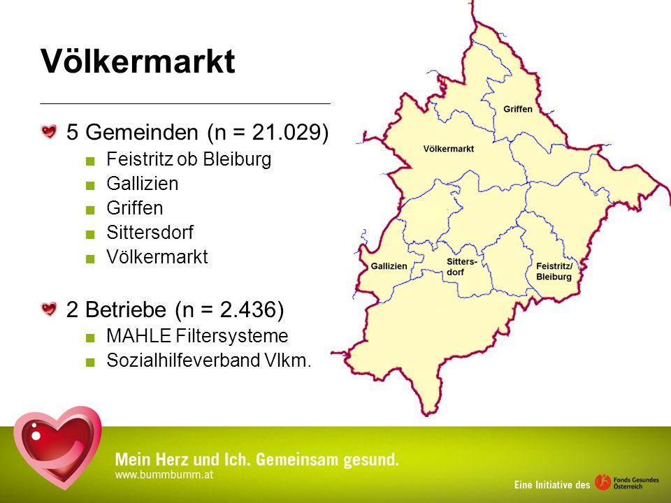 Völkermarkt 5 Gemeinden (n = 21.029) Feistritz ob Bleiburg Gallizien Griffen Sittersdorf Völkermarkt 2 Betriebe (n = 2.436) MAHLE Filtersysteme Sozial