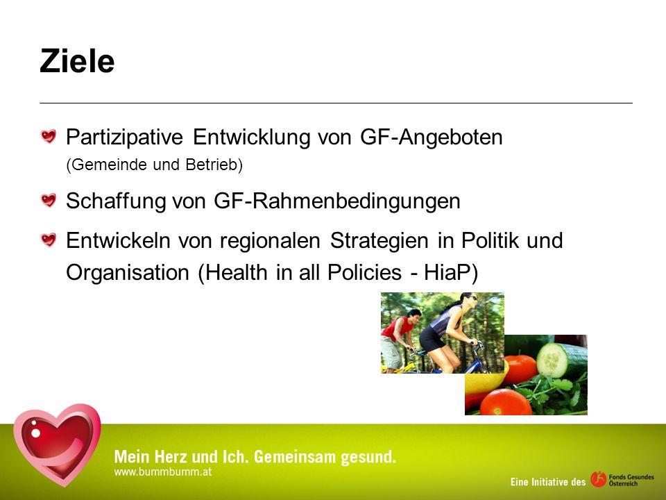 Ziele Partizipative Entwicklung von GF-Angeboten (Gemeinde und Betrieb) Schaffung von GF-Rahmenbedingungen Entwickeln von regionalen Strategien in Pol