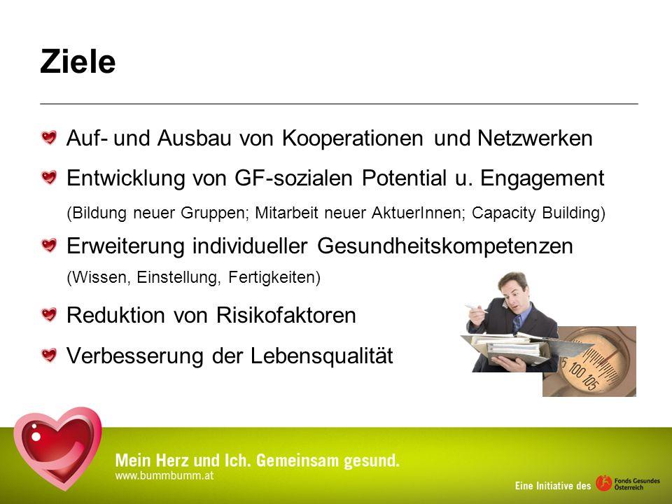 Ziele Auf- und Ausbau von Kooperationen und Netzwerken Entwicklung von GF-sozialen Potential u. Engagement (Bildung neuer Gruppen; Mitarbeit neuer Akt