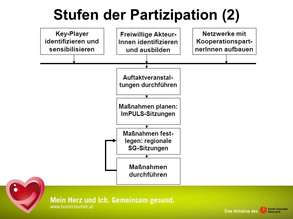 Stufen der Partizipation (2) Freiwillige Akteur- Innen identifizieren und ausbilden Netzwerke mit Kooperationspart- nerInnen aufbauen Key-Player ident