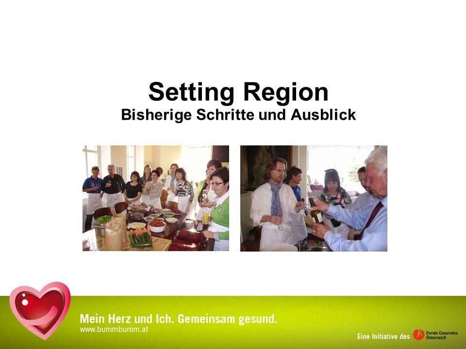 Setting Region – Bisherige Schritte Atmosphärischer Auftakt Auf- und Ausbau von Netzwerken Pfarrer u.