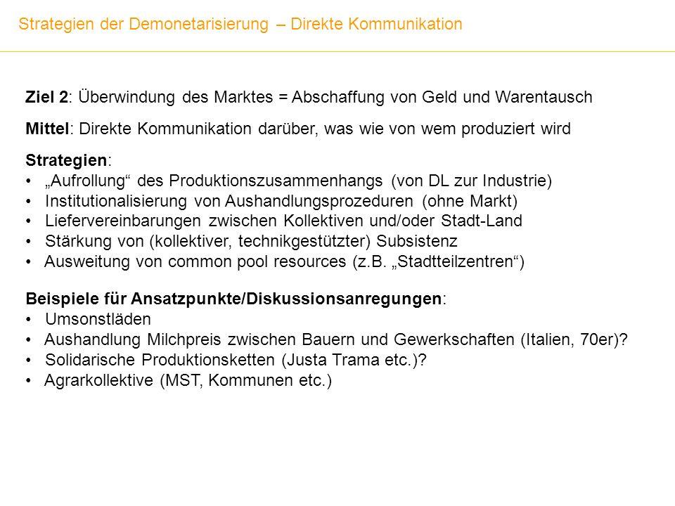 Strategien der Demonetarisierung – Direkte Kommunikation Ziel 2: Überwindung des Marktes = Abschaffung von Geld und Warentausch Mittel: Direkte Kommun