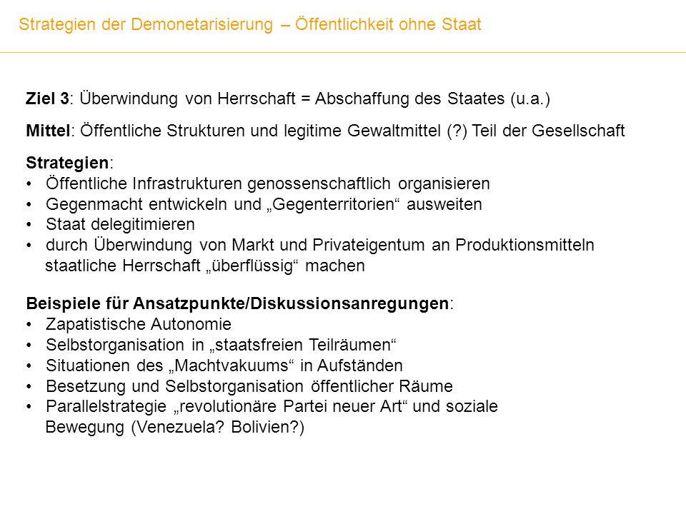 Strategien der Demonetarisierung – Öffentlichkeit ohne Staat Ziel 3: Überwindung von Herrschaft = Abschaffung des Staates (u.a.) Mittel: Öffentliche S