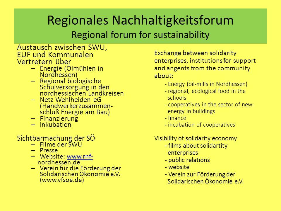 Regionales Nachhaltigkeitsforum Regional forum for sustainability Austausch zwischen SWU, EUF und Kommunalen Vertretern über – Energie (Ölmühlen in No