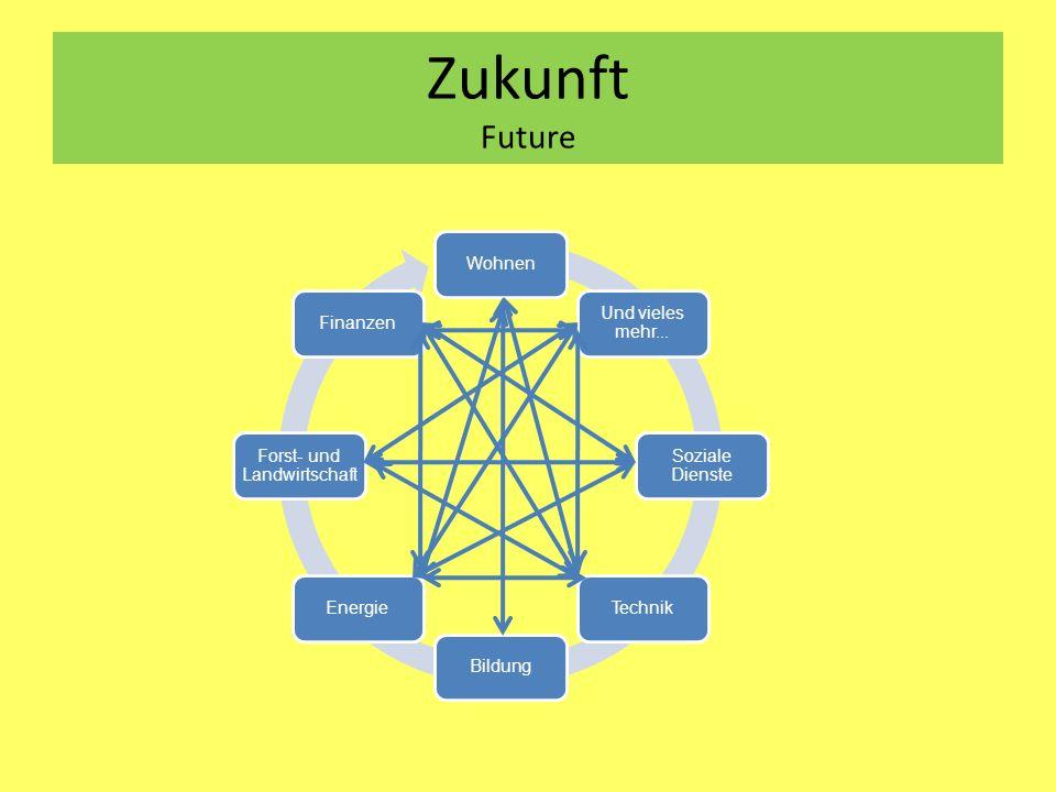 Zukunft Future Wohnen Und vieles mehr... Soziale Dienste TechnikBildungEnergie Forst- und Landwirtschaft Finanzen